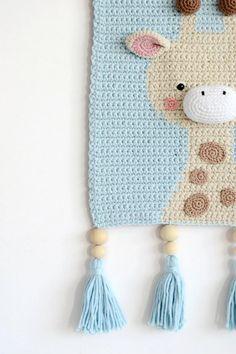 READY TO SHIP - Wall hanging - Wall decor - Crochet decor - Nursery wall decor - Nursery wall hanging - Crochet giraffe -Crochet wall decor Crochet Panda, Giraffe Crochet, Crochet Lion, Crochet Home, Crochet Baby, Crochet Wall Art, Crochet Wall Hangings, Gold Nursery Decor, Giraffe Decor