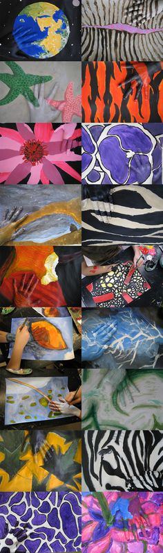 find a pattern nature.  They chose anything from animal fur to microorganisms.  They replicted the pattern using acrylic paint on 12×18″ paper.  Once their painting was complete, they camoflaged their hand within the painting.