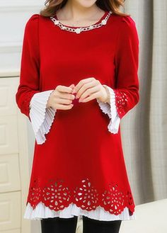 544d23779a Long Sleeve Embellished Neck Red Blouse