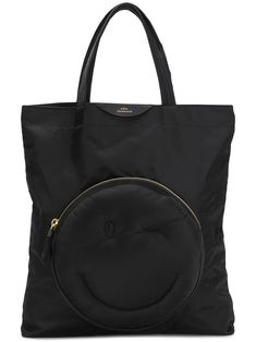 Anya Hindmarch Chubby Wink Nylon Tote Bag In Black Anya Hindmarch Fashion, Nylon Tote Bags, Global Brands, Logo Stamp, Black Nylons, Fashion Face, Make You Smile, Diaper Bag, Gym Bag