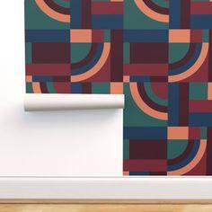 Velvet Blocks custom wallpaper by designdn for sale on Spoonflower Blue Colour Palette, Color Palettes, November Colors, Vintage Color Schemes, Marble Art, Surface Pattern Design, Custom Wallpaper, Custom Fabric, Color Inspiration