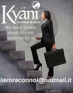 KYANI ha rivoluzionato il modo di lavorare e guadagnare da casa, investendo il tempo che tu decidi. KYANI cambia la vita delle persone attraverso prodotti ad alto impatto salutistico, prodotti unici al mondo basati sulla scienza e sulla nutrizione d'avanguardia .http://www.aulettabenessere.kyani.net/ Un nuovo, straordinario e dinamico piano compensi, brevettato e studiato da sette leader del network. Cerchiamo persone  lavoraconnoi@hotmail.it Tel. 3488054592
