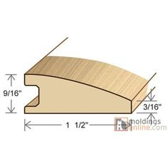 "Moldings Online 0.56"" x 1.5"" x 78"" Red Maple Reducer"