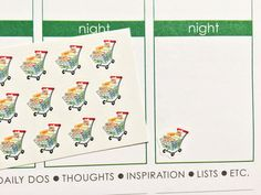 This set will include 30 Shopping Cart Stickers that look great in the weekly boxes of the erin condren life planner as you can see in the picture