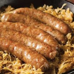 Traditional German Food Recipes - Food - GRIT - - Throw an Oktoberfest shindig and make some traditional German food recipes that everyone will enjoy. Bratwurst Recipes, Beer Recipes, Sausage Recipes, Baby Food Recipes, Cooking Recipes, Cooking Ideas, German Sauerkraut Recipe, Sauerkraut Recipes, Brats And Sauerkraut