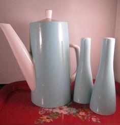 Vintage Mod Aqua Mikasa Teapot and Salt & Pepper Shaker