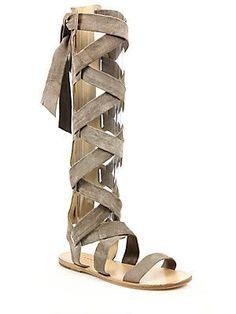 Rag & Bone Ilaria Suede Lace-Up Sandals - Warm Grey - Size 3