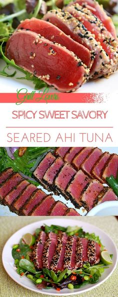 PrintGrill Lovers' Spicy Sweet Savory Seared Ahi Tuna Recipe Ingredients• 2 lbs. Ahi Tuna steaks • 1/4-cup soy sauce • 1/4-cup honey • 1/4-cup wasabi powder • Sesame seeds InstructionsCombine honey, soy sauce, and wasabi. Reserve half for dipping sauce. Use other half to marinade the tuna steaks for one hour. After marinade, coat the[...] #seafoodrecipes