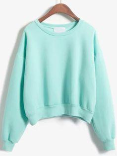 Round Neck Crop Green Sweatshirt Mobile Site