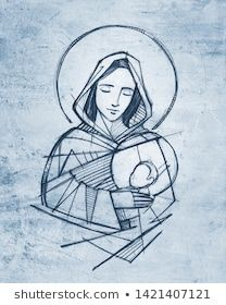 Virgin Mary and baby Jesus hand drawn pencil illustration - Buy this stock illustration and explore similar illustrations at Adobe Stock Christian Drawings, Christian Art, Catholic Art, Religious Art, Croix Christ, Jesus Drawings, Jesus Art, Mary And Jesus, Photoshop Illustrator
