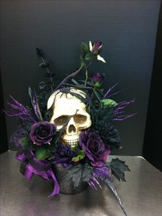 Creepy purple skull custom floral by Andrea for Michaels Round Rock