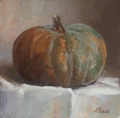 The Orange and Green Pumpkin by Susan Fuquay Oil ~ 8 x 8
