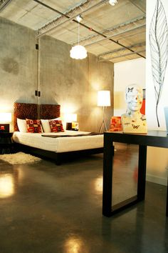 industrial bedroom: polished concrete floor, exposed ductwork