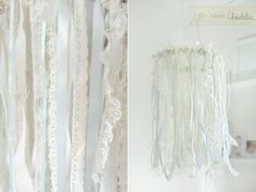 embroidery hoop and a variety of ribbon, lace or fabric are all you need to make this shabby chic chandelier! Ribbon Chandelier, Shabby Chic Chandelier, Mobile Chandelier, Diy Ribbon, Lace Ribbon, Ribbon Mobile, Spearmint Baby, For Elise, Idee Diy