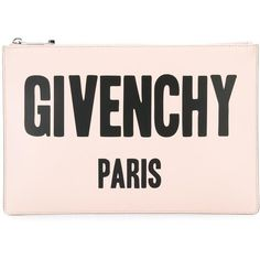 Givenchy logo printed pouch (£470) ❤ liked on Polyvore featuring bags, handbags, clutches, pink clutches, pattern purse, nude handbags, nude clutches and pouch handbags