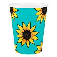Sunflower Pattern 4 Paper Cup - watercolor gifts style unique ideas diy