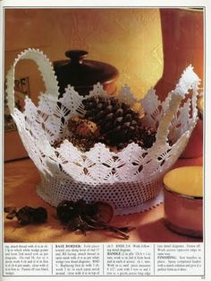 Lacy and delicate crochet basket