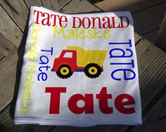Personalized Baby Blanket with Truck - Dump Truck Receiving Blanket - Custom Baby Blanket - Baby Swaddle Blanket - Baby Blanket Photo Prop Baby Swaddle Blankets, Receiving Blankets, Soft Blankets, Personalized Baby Blankets, Dump Truck, Knot Headband, Different Fabrics, Baby Shower Gifts