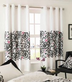 Interior Marvelous White Curtain With Black Pink Floral Ornament Centered In Front Of Black Rattan Chair And Round Wood Table In Mesmerizing Bedroom Modern Patterned Curtains to Spice up Any Decor