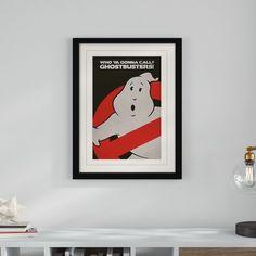 'Ghostbusters - Logo' Vintage Advertisement Art Group Size: 40cm H x 30cm W, Format: Black Frame, Mount Colour: Yellow