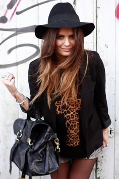 Like the blazer, leopard, and patterned shorts!