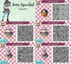 animal crossing new leaf qr code pokemon omega ruby alpha sapphire oras team aqua girl grunt dress and hat cap blue grey pirate outfit for acnl design by sturmloewe
