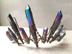 Magical Natural Crystal Rainbow Titanium Aura Quartz & Copper Crown Tiara - Ethereal Alternative Wedding Bridal Headdress - Game of Thrones