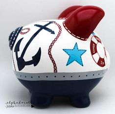 Oh Buoy Nautical Personalized Piggy Bank in Navy, Red and Grey Personalized Piggy Bank, Personalized Gifts, The Little Couple, Decopage, Money Box, Red And Grey, Porcelain Ceramics, Custom Items, Nursery Art