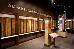 This exhibit monolith features samples from all 50 U.S. states and an interactive kiosk where visitors can learn fun facts about the living soils in their favorite places. (Photo courtesy of SSSA) #DigItCA