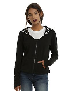 Kreepsville 666 Spiderweb Bat Flap Girls Jacket, BLACK
