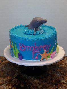 Under the sea dolphin cake Dolphin Cakes, Sea Dolphin, 5th Birthday, Birthday Parties, Birthday Cakes, Cupcake Cookies, Cupcakes, Under The Sea Party, Celebration Cakes