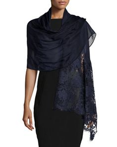 D0Z0Q Valentino Voile Stole with Rose Lace