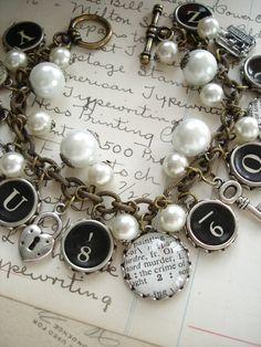 Murder She Wrote Typewriter Key Bracelet. by PreciousPastimes