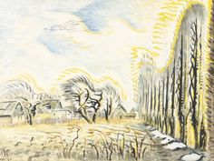 Charles Burchfield (American, 1893-1967), February Wind and Sunlight (The Wind Harp), 1947-57. Watercolor and gouache on joined paper mounted on board, 30 x 40 in.