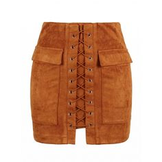 Choies Brown Faux Suede Lace Up Front Pencil Mini Skirt ($28) ❤ liked on Polyvore featuring skirts, mini skirts, brown, short pencil skirt, pencil skirt, mini skirt, short mini skirts and brown pencil skirt
