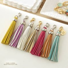 These tassels add an instant flair of sophistication, play & color all at the same time! A perfect charm to personalize your planner, purse or crafting projects! Includes one yellow high quality PU Leather tassel that compliments your color crush planner colors. Contains lobster clip hardware. Image shows all available colors.