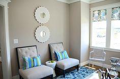 Silver fox Benjamin Moore- foyer color    blogger house living room side