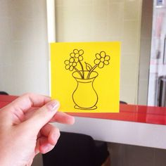 A vase of flowers #postitdoodle #doodle #postit #yellow #vase #flower #flowers #color #needs #followme #follow #hope #beauty #drawing #daily #everyday
