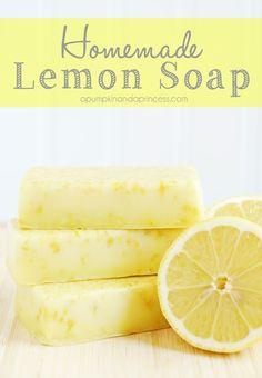 DIY handmade lemon soap.  Great favor or gift idea!