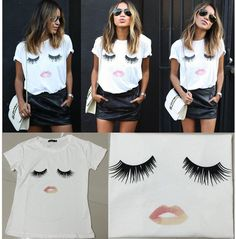 2015 Fashion Women New Casual Short Sleeve T-Shirt Eyelash lips Crew Blouse Tops #100brandnew #Shirt