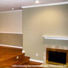 Two tone wall paint design benjamin moore 39 s van deusen for Gentle cream benjamin moore