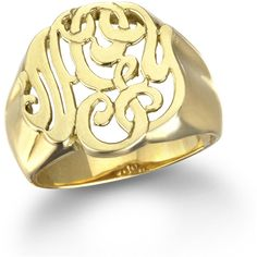 Ginette_ny Lace Monogram Ring, Gold ($1,969) ❤ liked on Polyvore