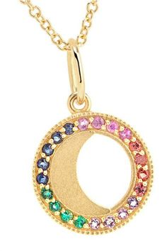 Andrea Fohrman - Waning Moon 18-karat Gold, Sapphire And Emerald Necklace - one size