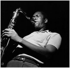 John Coltrane during Paul Chambers 'Whims of Chambers' session, Van Gelder studio, Sept, 1956 by Francis Wolff