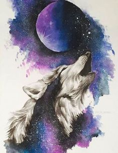 Animal Drawings Find More Diamond Painting Cross Stitch Information about Full Square Galaxy Painting, Galaxy Art, Cute Animal Drawings, Cute Drawings, Wolf Drawings, Wolf Painting, Diy Painting, Wolf Spirit Animal, Wolf Artwork