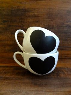Ceramic Chalkboard Heart Mugs - Set of Two by HomeSweetBoutique