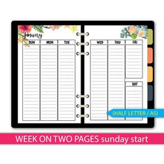 sunday start floral week on 2 pages monthsweekly planner insertshalf letter size