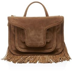 Pierre Hardy Tan Suede Alpha Fringed Cross Body Bag ($1,485) ❤ liked on Polyvore featuring bags, handbags, shoulder bags, suede fringe handbag, fringe crossbody, crossbody purse, brown shoulder bag and fringe crossbody purse