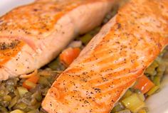 Salmon with Lentils.    Don't be put off by the longish list of ingredients for this dish. Once you have everything prepped, it's really simple to make. And the method for cooking the salmon is one I use now just about every time I cook that fillet. Which, by the way, can be substituted nicely with duck in this recipe.