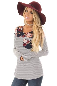 d7d32917eea16 Lime Lush Boutique - Navy Striped Top with Floral Print Upper and Pocket